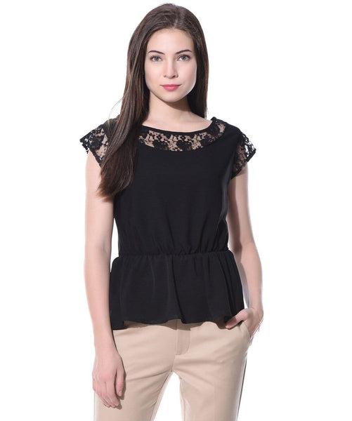 Black Solid Peplum Crepe Lace Top - Uptownie