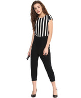 Black & White Striped Cotton Bottom Jumpsuit
