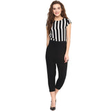 Black & White Striped Cotton Bottom Jumpsuit. BUY 1 GET 3