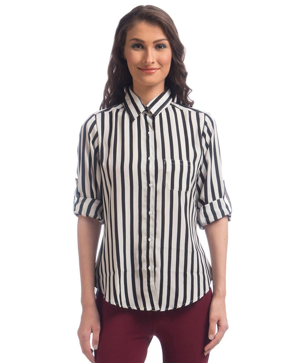 Uptownie Black & White Striped Crepe Shirt 1 clearance sale