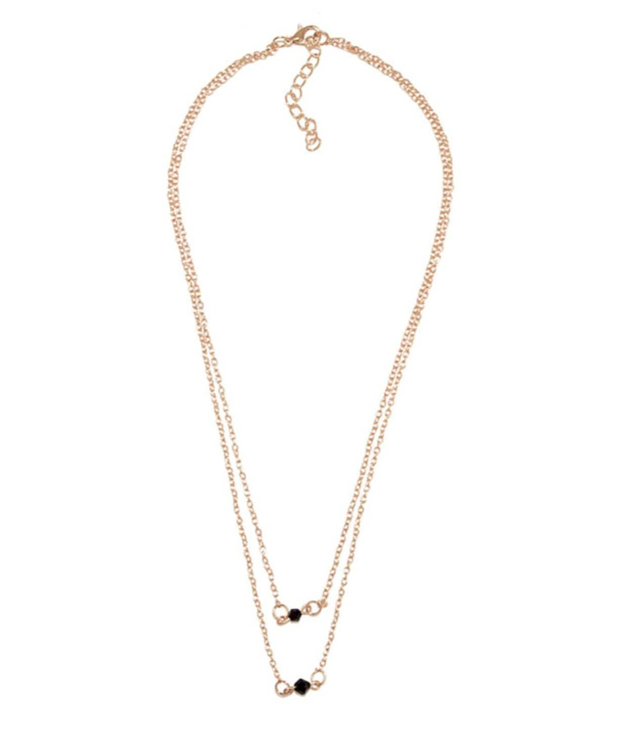 Black Bead Dainty Necklace - Uptownie