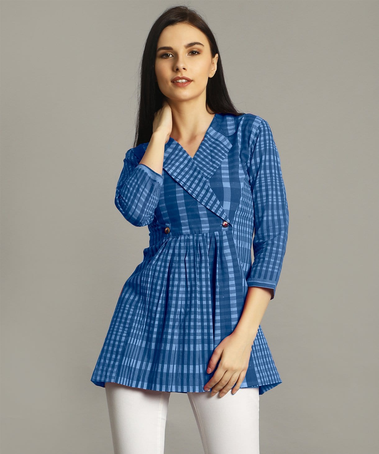 Uptownie Blue Checkered Wrap Handloom Tunic 1 summer sale