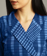 Uptownie Blue Checkered Wrap Handloom Tunic 5 summer sale
