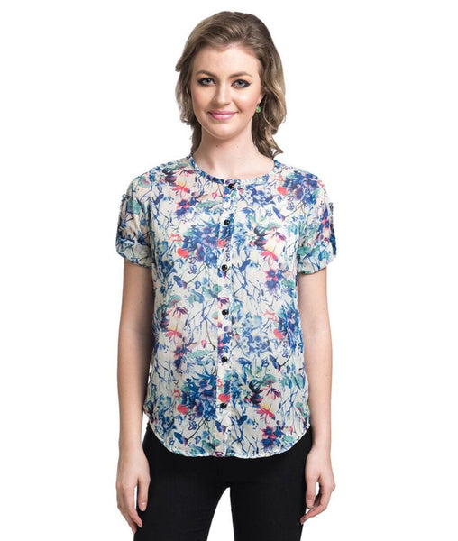 Blue Floral Print Georgette Shirt