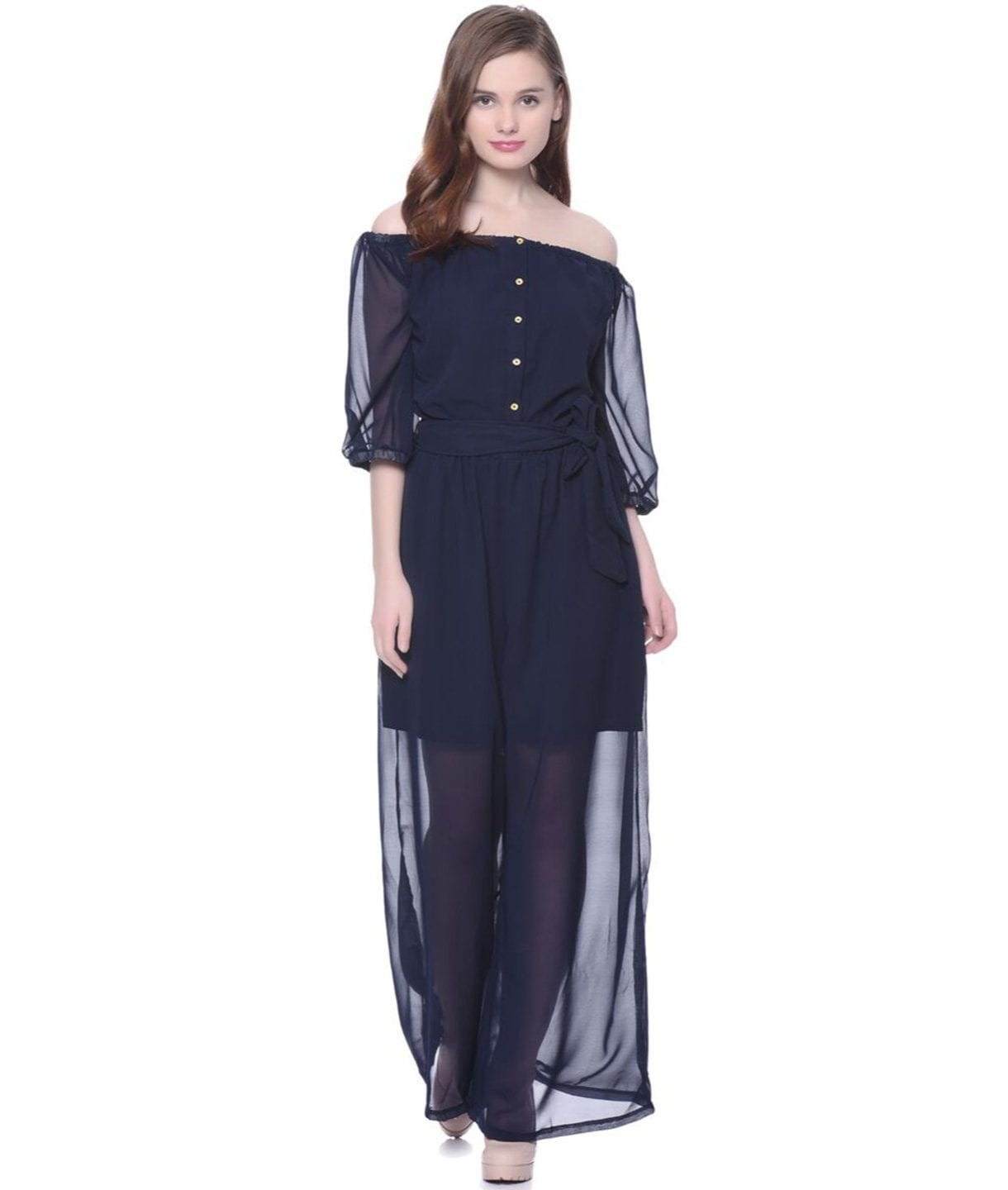 Blue Off-Shoulder Sheer Jumpsuit. BUY 1 GET 3