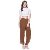 Brown Crepe Tulip Pants