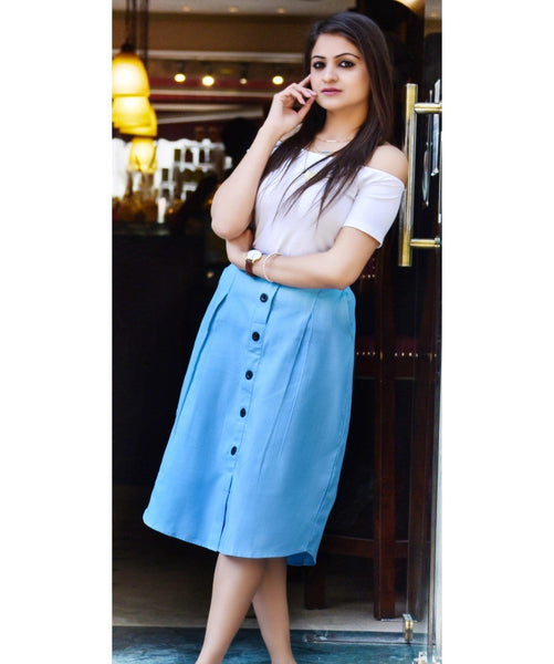 Buttoned Down Chambray Skirt