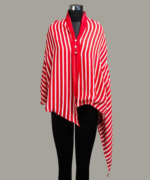 Striped Red & White Cape - Uptownie