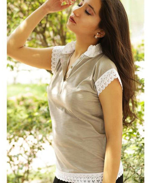 Solid Grey Lace T-shirt (cotton). BUY 1 GET 3
