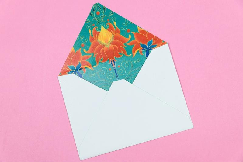 Flourish Teal Greeting Cards(set of 10)(Personalisation Available) - Uptownie