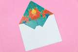 Flourish Teal Greeting Cards(set of 10)(Personalisation Available)
