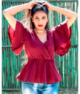 Uptownie Plus Maroon Peplum Bell Sleeves Top