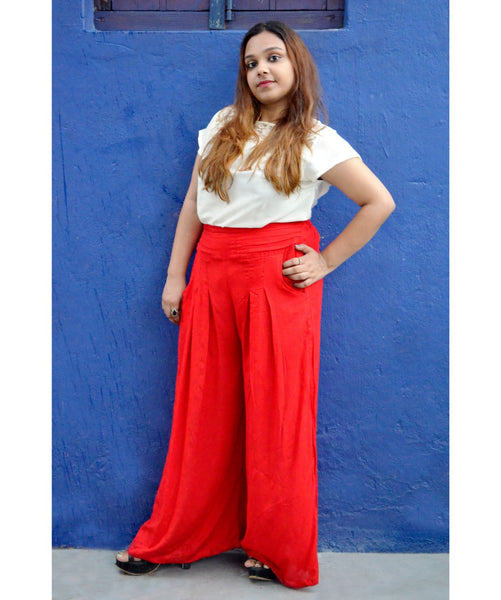 Uptownie Plus Red Solid Rayon Palazzo 1 clearance sale