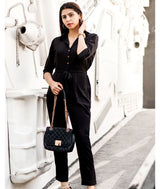 Uptownie Black Roll Up Jumpsuit