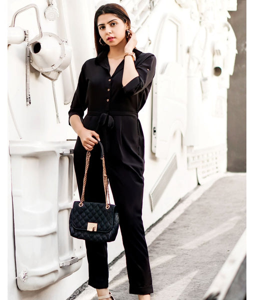 black roll up jumpsuit