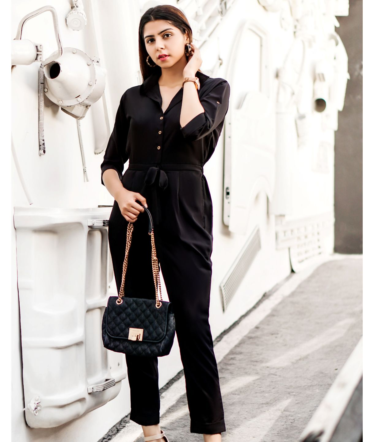 Uptownie Plus Black Roll Up Jumpsuit