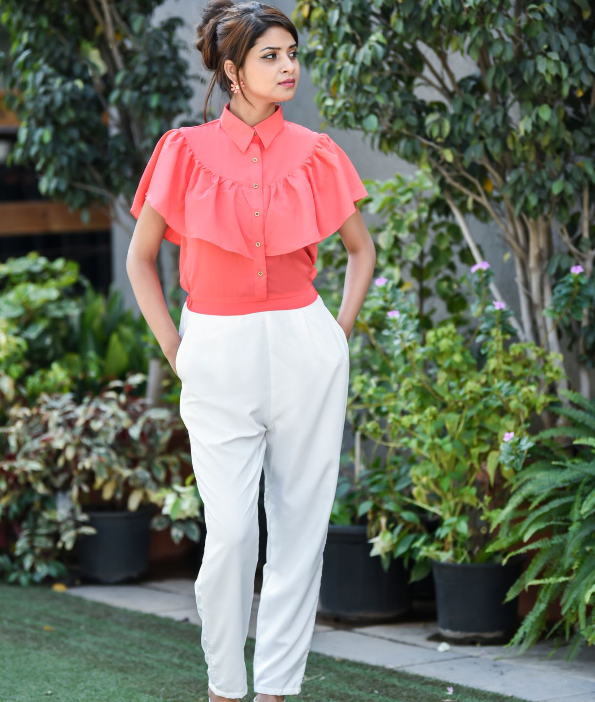 Uptownie Plus The Coral & White Solid Jumpsuit