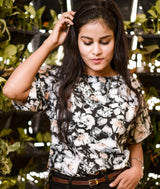 Black & White Floral Print Boxy Top