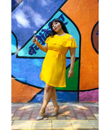 Uptownie Plus Yellow Solid Crepe Ruffled Cold Shoulder Skater Dress
