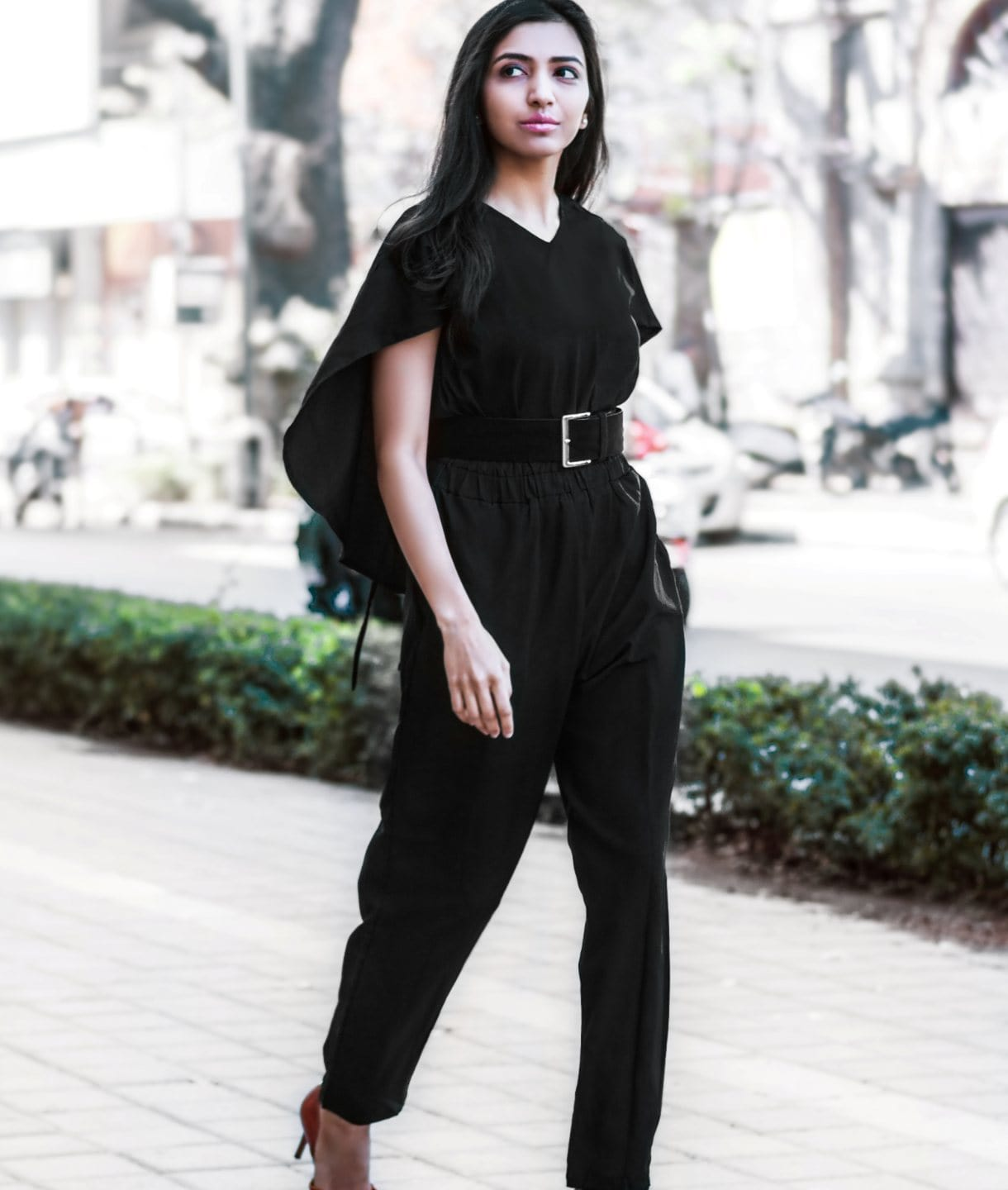 Black Back Cape Jumpsuit