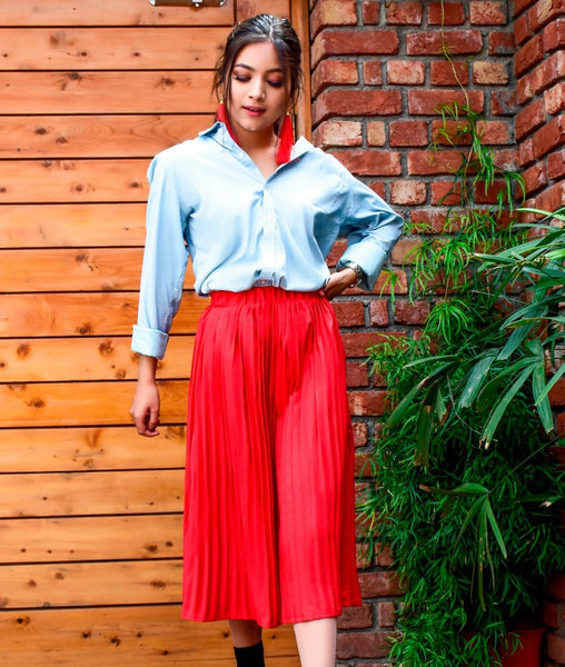 Red Pleated Adjustable Culottes