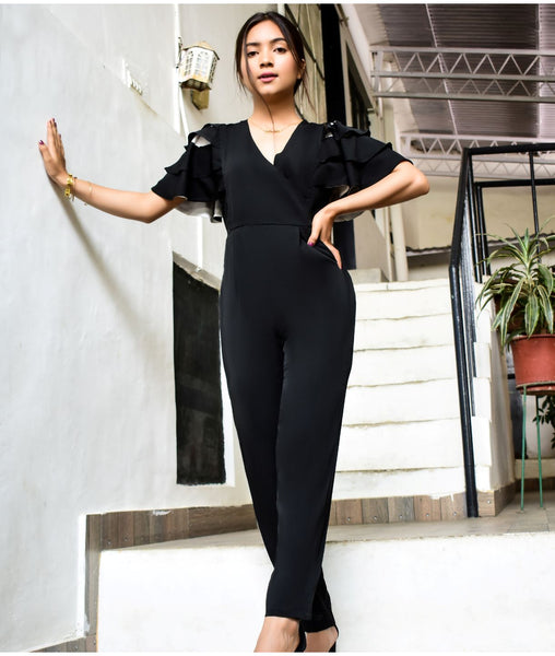 Uptownie Plus Black Contrast Lining Jumpsuit - Uptownie