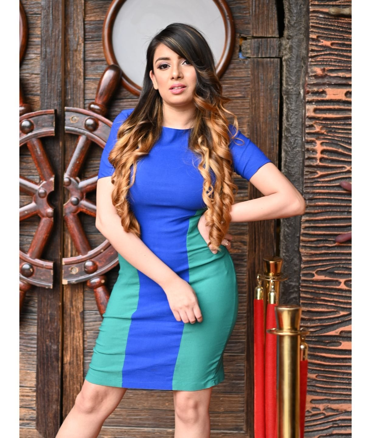 Solid Blue & Green Bodycon Stretchable Cotton Dress