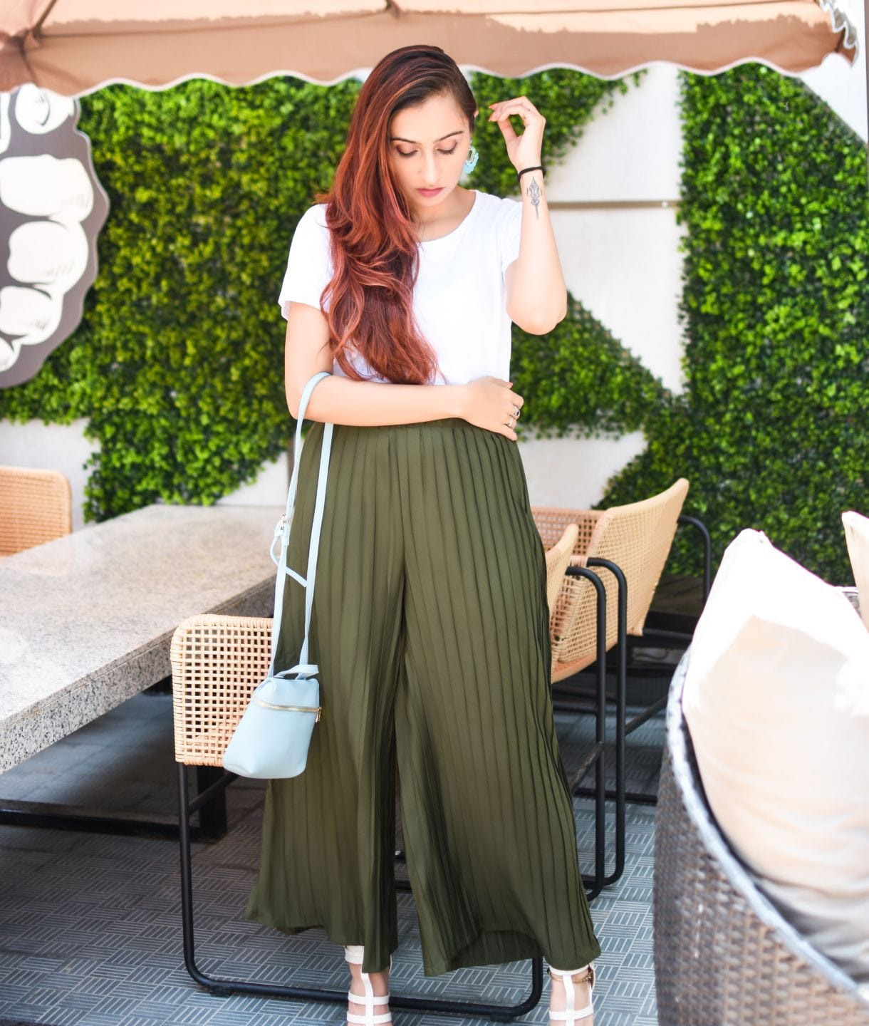 Army Green Pleated Crepe Maternity Palazzo