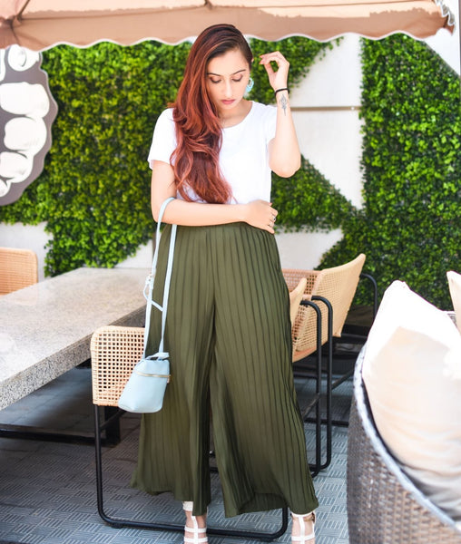 Army Green Pleated Crepe Palazzo