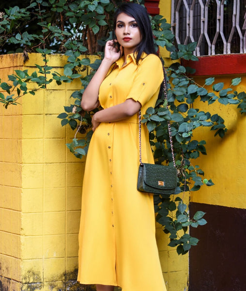 Yellow Solid crepe button down Maxi shirt-dress