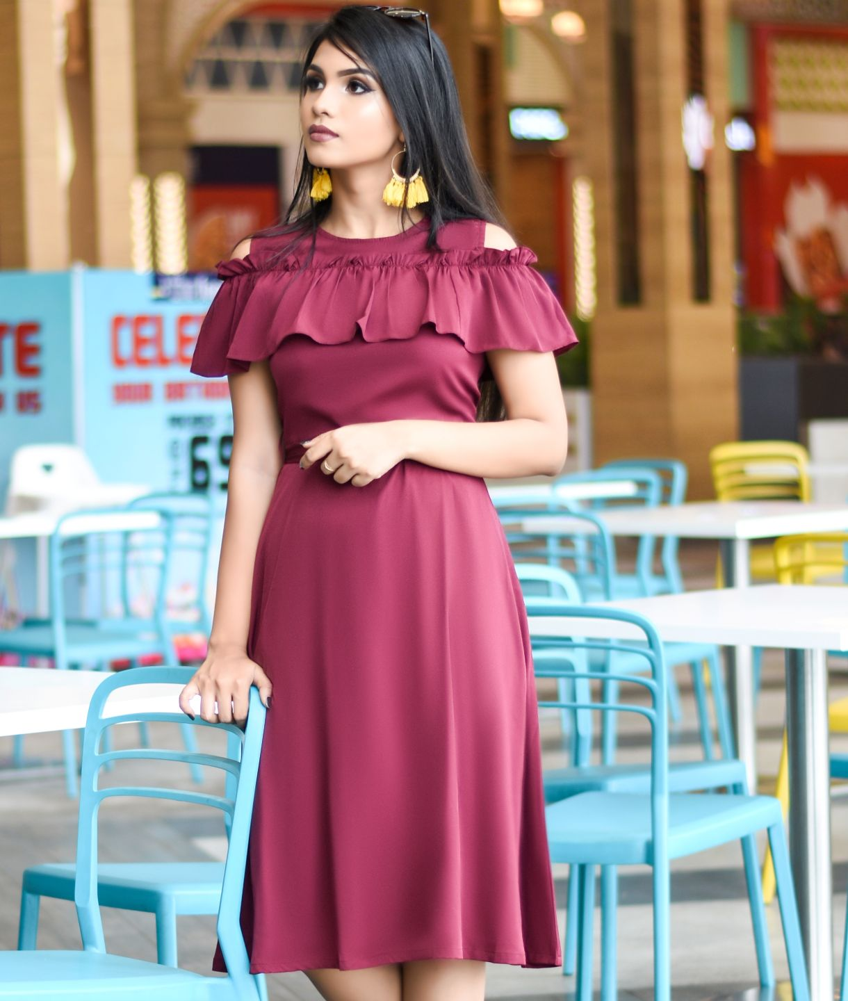 Uptownie Plus Maroon Solid Crepe Ruffled Cold Shoulder Skater dress