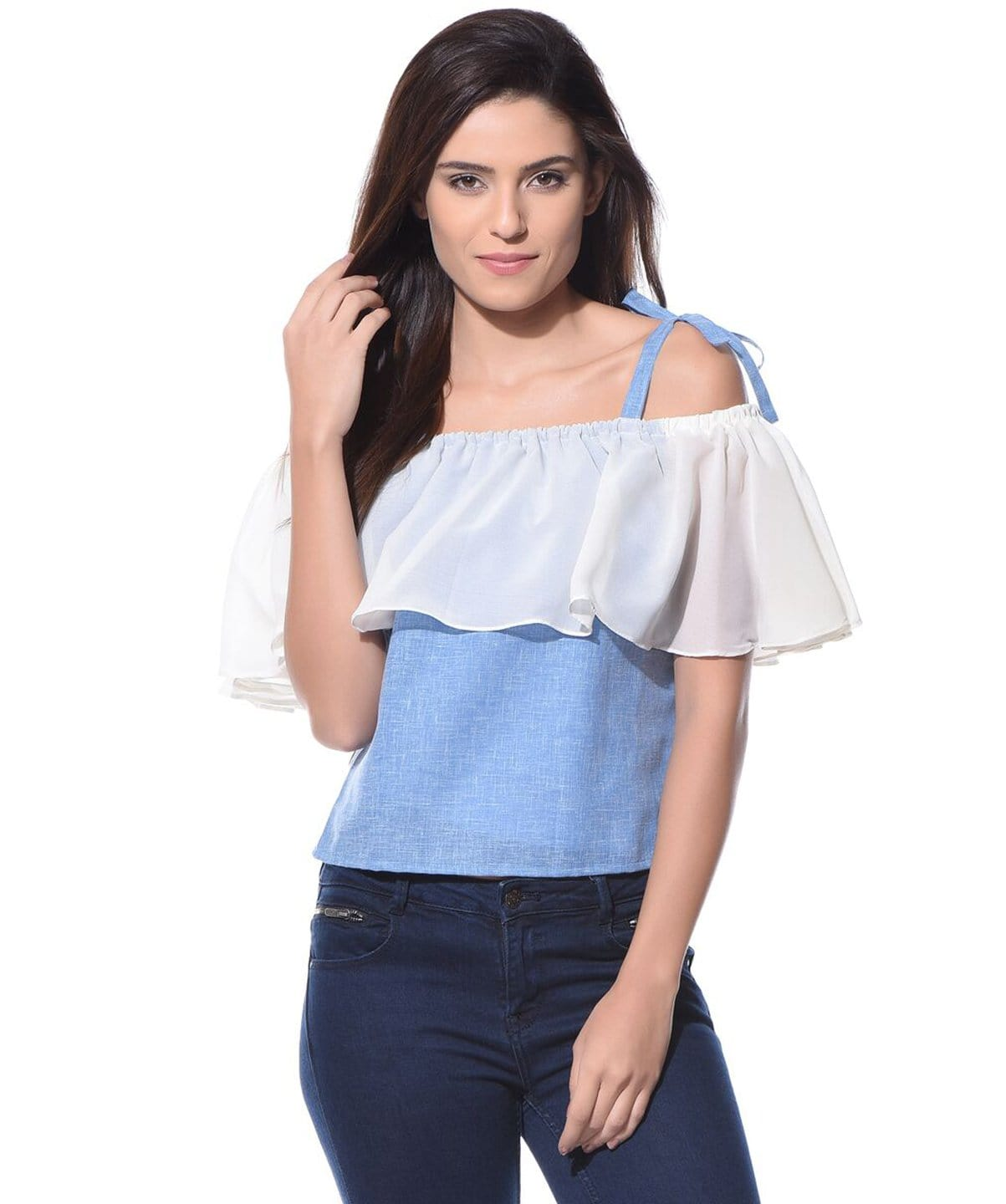 Denim Off Shoulder Tie Up Chambray Top