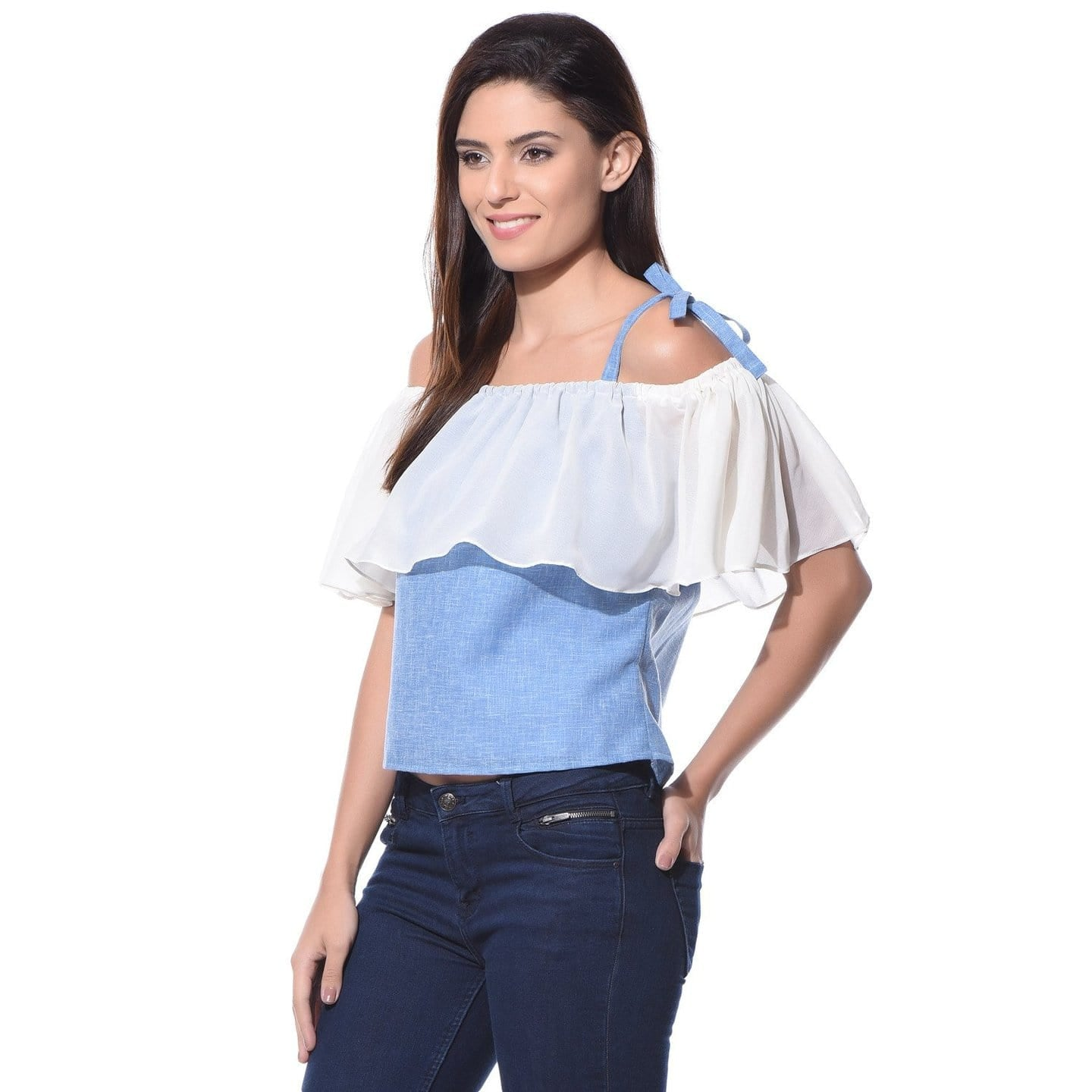 d9ea5f46e40 Denim Top, Off Shoulder Top, Tie Up Top, Denim Tie-up Top – Uptownie