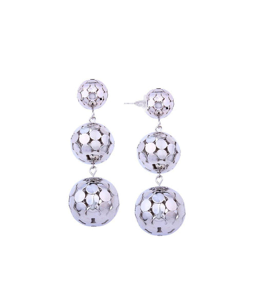 Disco Ball Silver Earrings - Uptownie