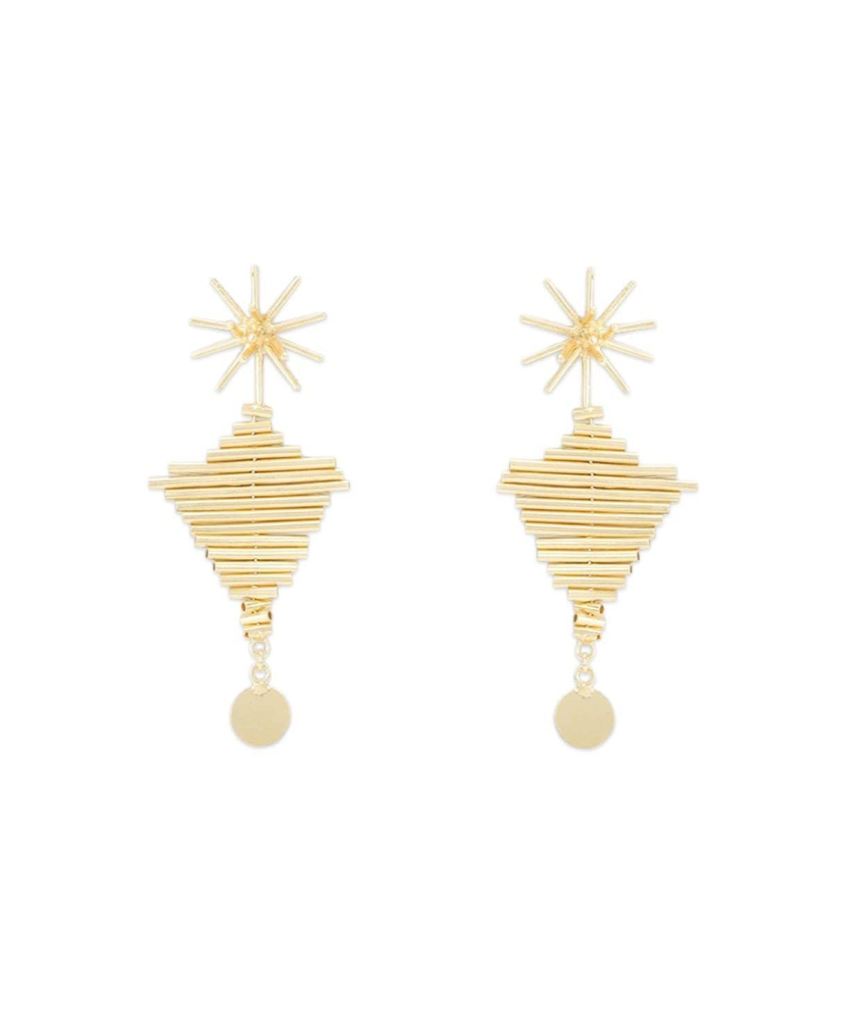 Piped Statement Gold Earrings - Uptownie