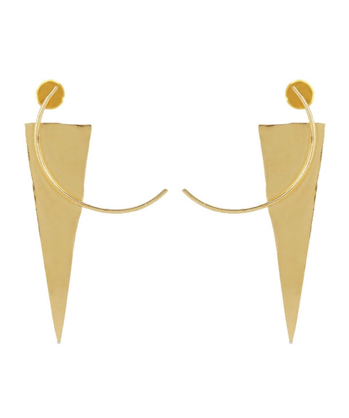 Gold Structured Earrings - Uptownie