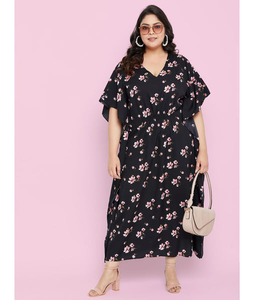 Uptownie Plus Comfortable Black Printed Kaftan Which Doubles Up As A Nightie