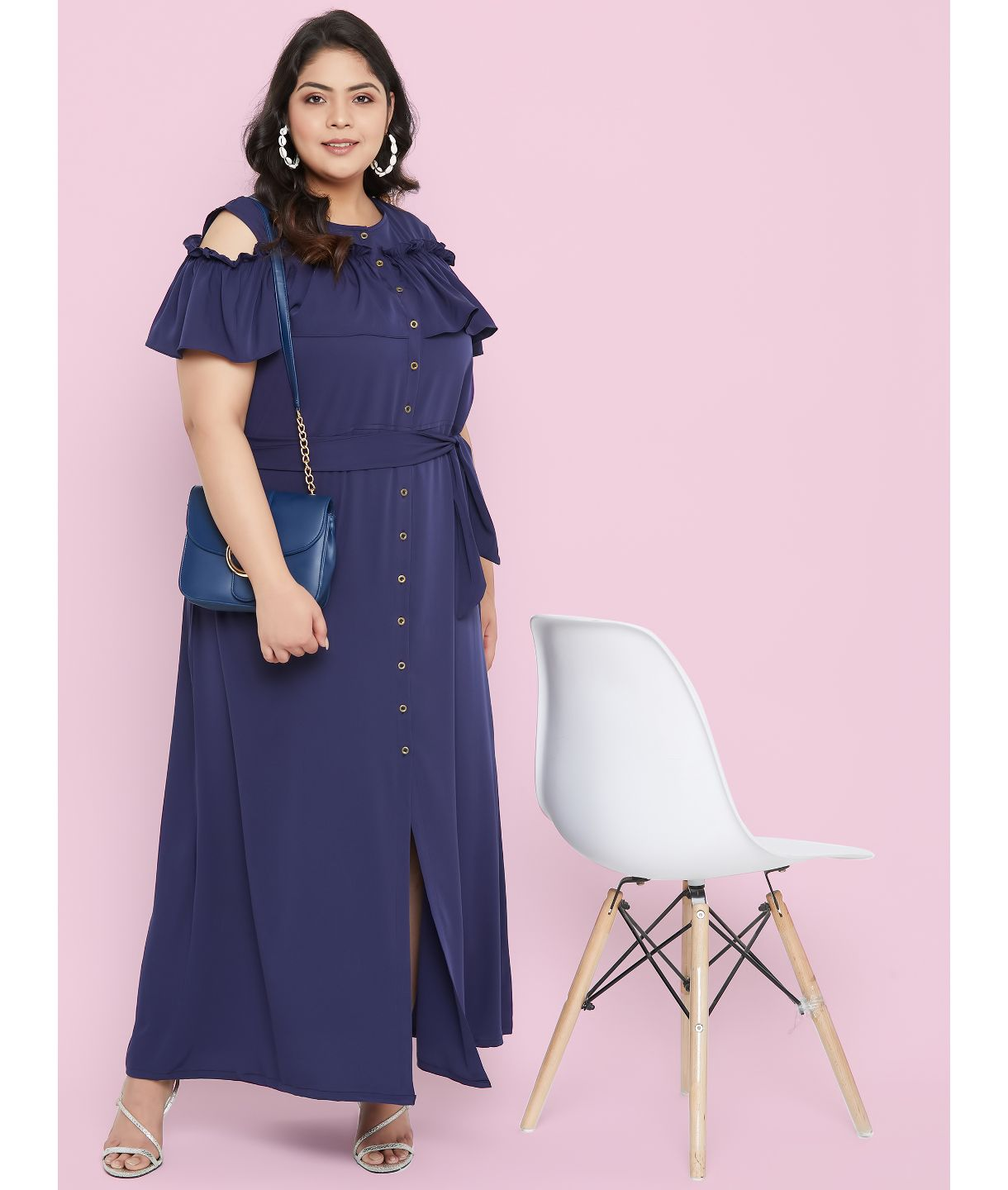 Uptownie Plus Ruffled Buttoned Cold Shoulder Navy Blue Maxi Dress