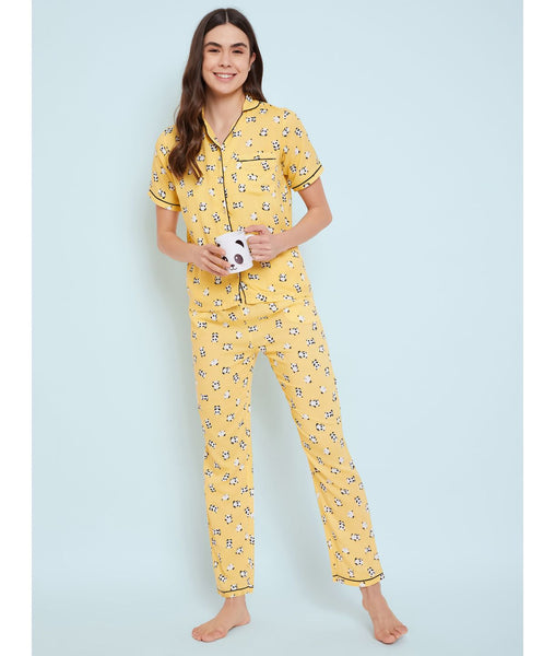 Yellow Panda Print Night Suit