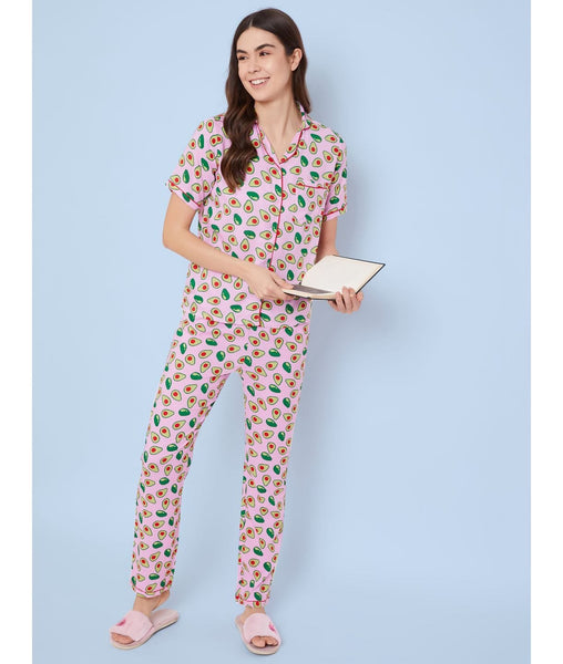 Pink Avacado Print Night Suit