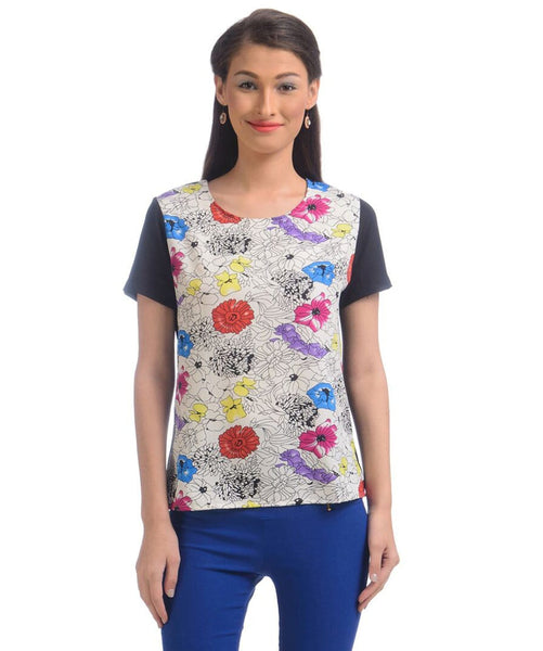 Uptownie Floral Print White Casual Crepe Top 1 Sale at 399