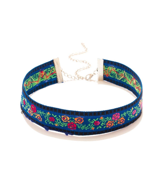 Floral Embroidery Choker - Uptownie