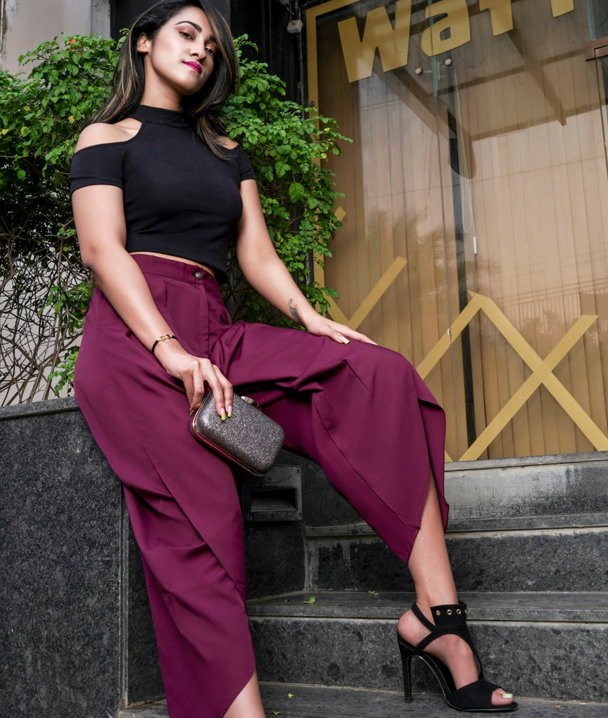Uptownie Plus Maroon Crepe Tulip Pants