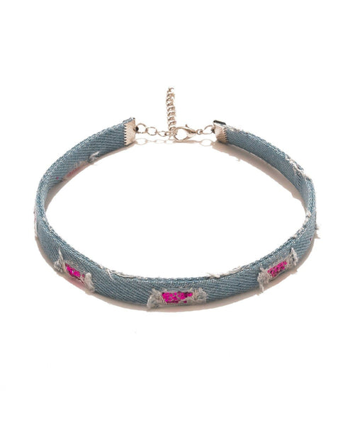 Glitz Denim Choker - Uptownie