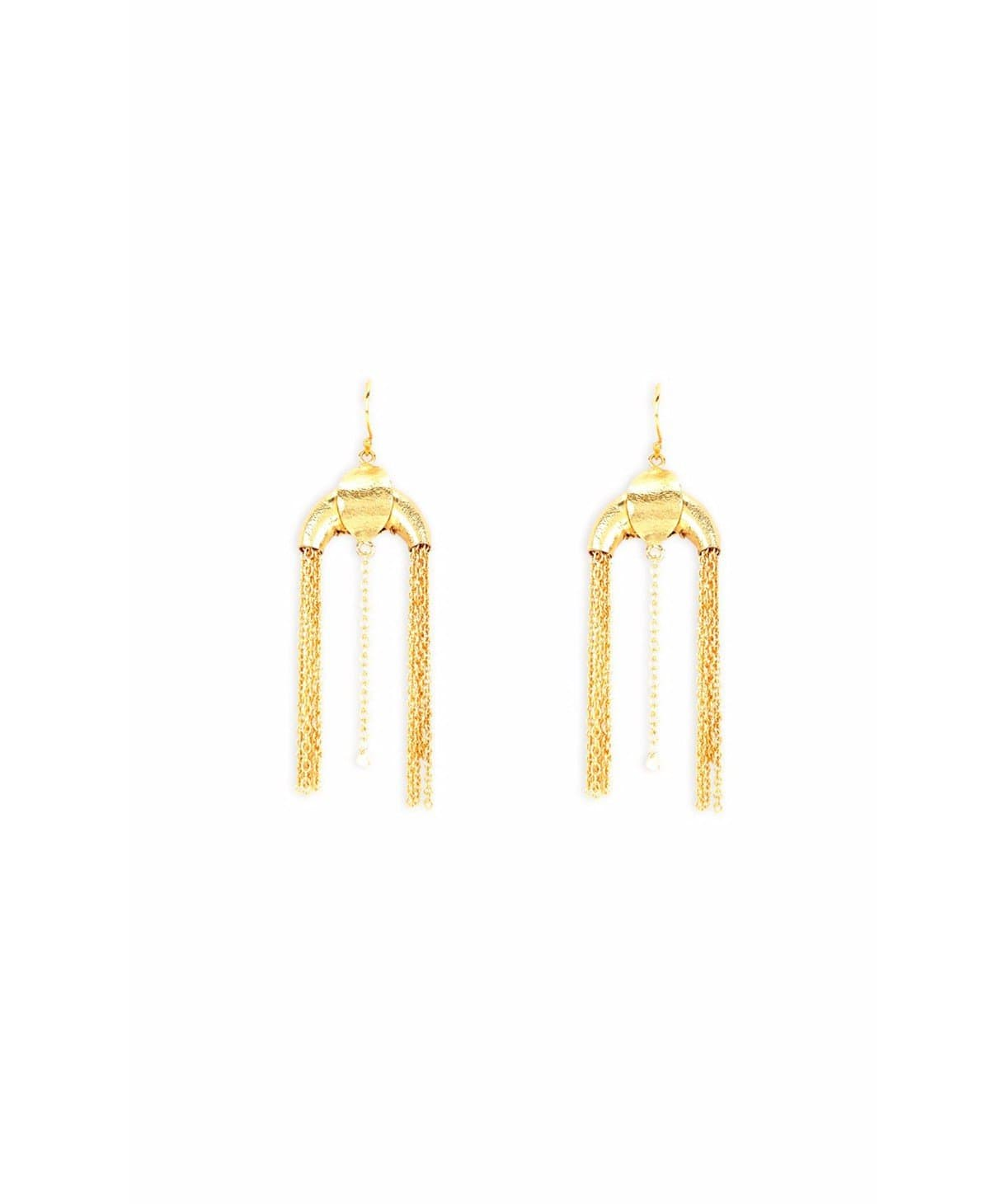 Gold Arc Tassel Earrings - Uptownie