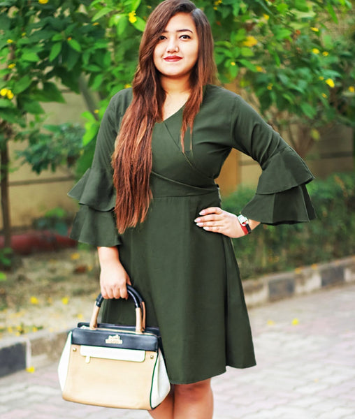 Green Wrap Bell Sleeves Skater Dress