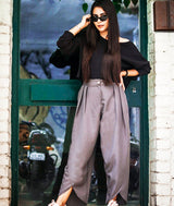 Uptownie Grey Crepe Tulip Pants 1 clearance sale