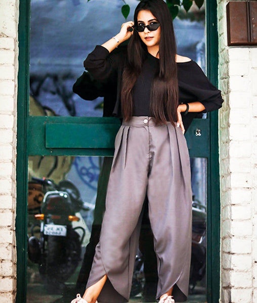 Grey Crepe Tulip Pants