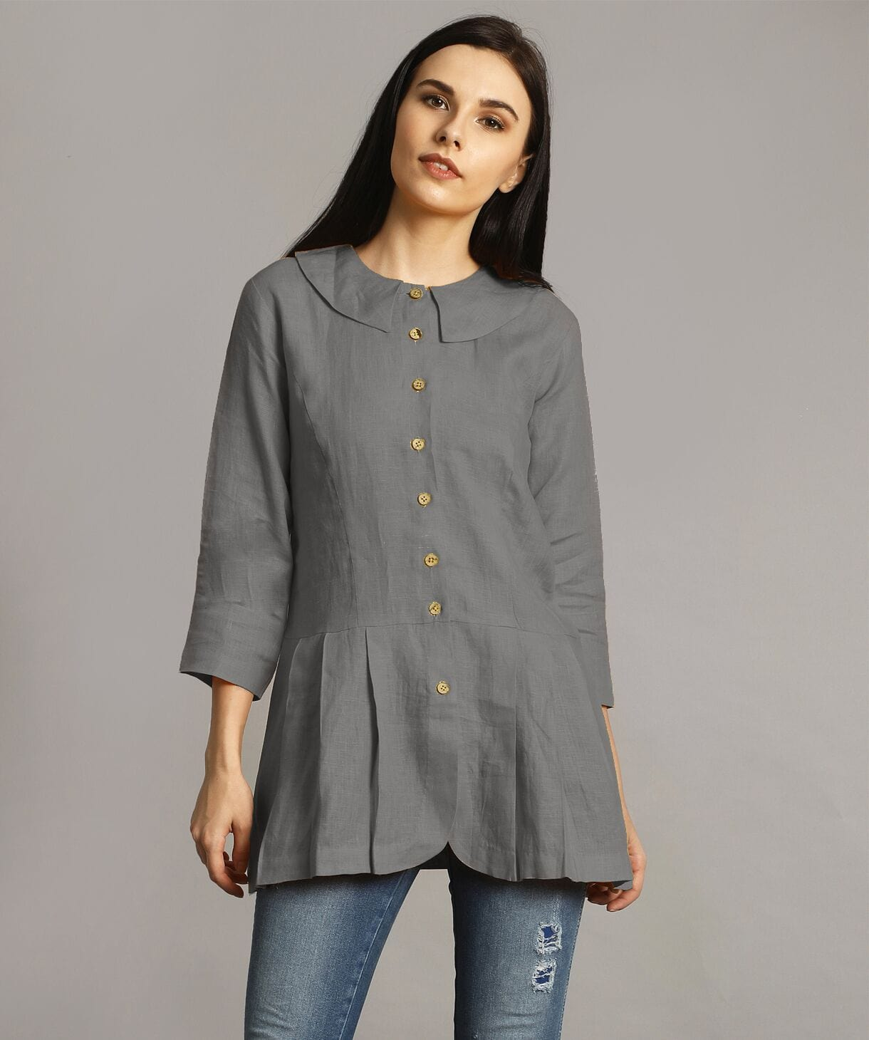 Grey Peter Pan Neck Linen Tunic