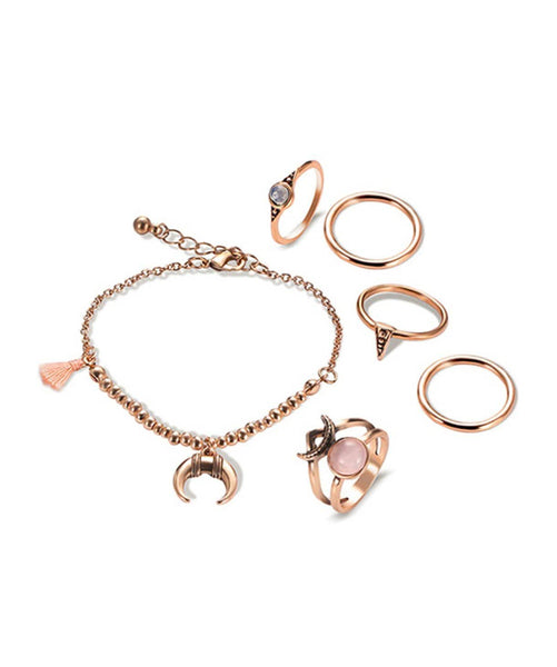 Half Moon Bracelet and Ring Set - Uptownie